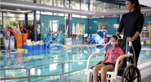 Child with respiratory failure at the pool ResMed