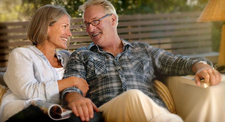 Happy couple with sleep apnea ResMed